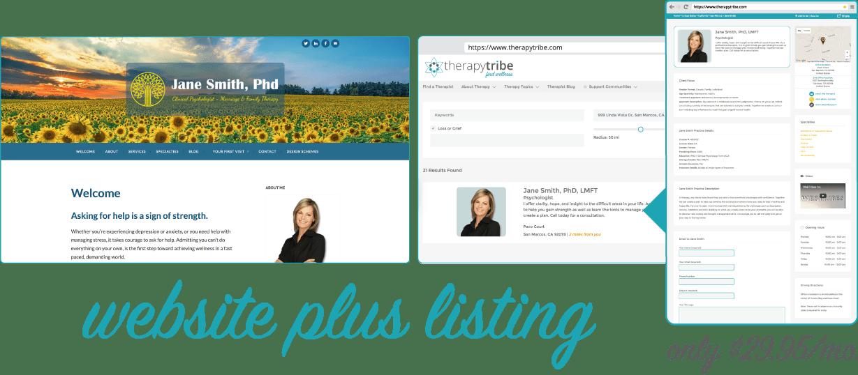 Therapist Listing plus Website